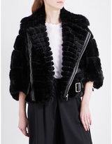 Noir Kei Ninomiya Cropped faux-fur biker jacket