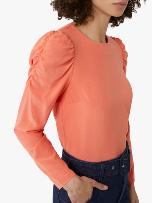 Warehouse Ruched Sleeve Top