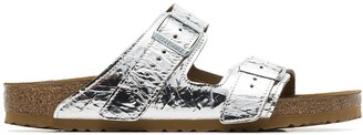 Rick Owens silver metallic X Birkenstock arizona sandals