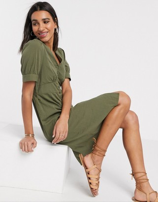 Vero Moda midi dress with puff sleeves in khaki