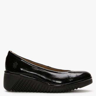 Fly London Leny Black Patent Leather Wedge Shoes