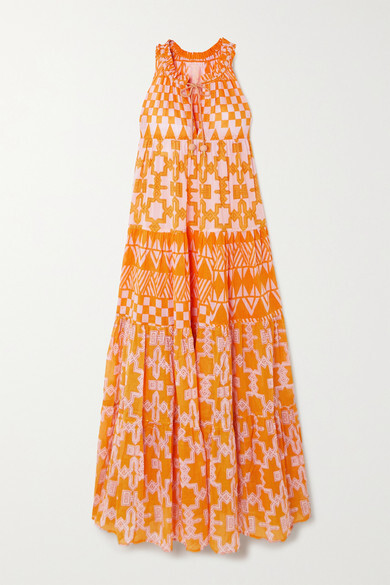 Thumbnail for your product : Yvonne S Hippy Tiered Printed Cotton-voile Maxi Dress - Pink