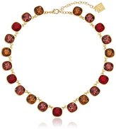 "Anne Klein Skyline Recolor Gold-Tone/Red Siam Collar Necklace, 16"" + 3"" Extender"
