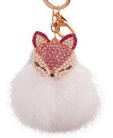 BUYEONLINE Bling Rhinestone Fox Rabbit Fluffy Ball Keychain Car Key Ring,Rose-red Fox + White