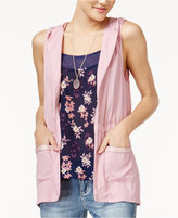 Self Esteem Juniors' Printed Tank Top, Hooded Vest and Necklace