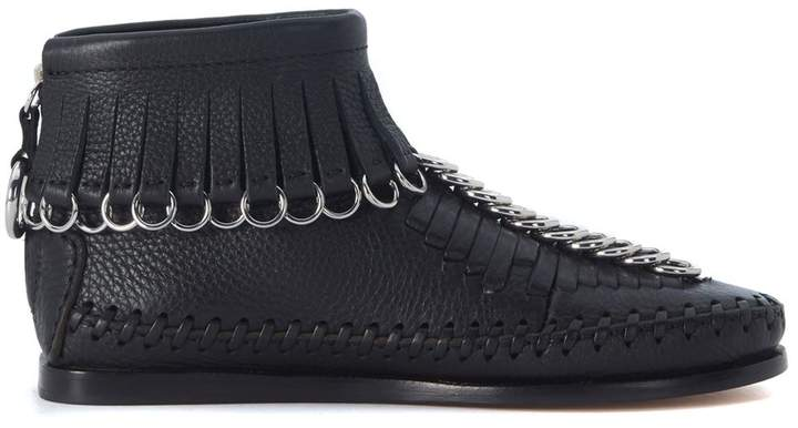 Alexander Wang Black Leather Montana Fringe Mocassin Boots