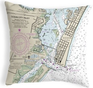 V&A Highland Dunes Quast Ocean City Inlet, Va Nautical Map Indoor/Outdoor Lumbar Pillow Highland Dunes