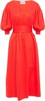Kate Spade Gathered Cotton-poplin Midi Dress