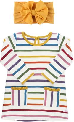 RuffleButts Girl's Harvest Rainbow Striped Dress w/ Bow Headband, Size 0-4T
