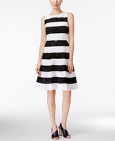 Calvin Klein Striped Belted Fit & Flare Dress