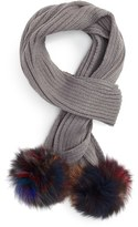 Jocelyn Women's Knit Scarf With Genuine Fox Fur Poms
