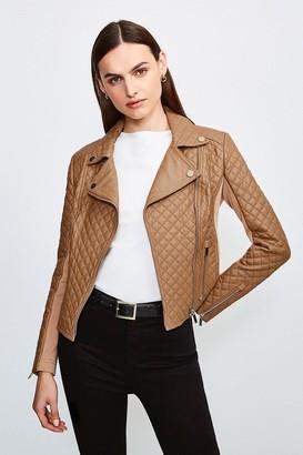 Karen Millen Leather Quilted And Knit Panel Biker Jacket