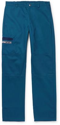 AFFIX Logo-Print Twill Trousers - Men - Blue