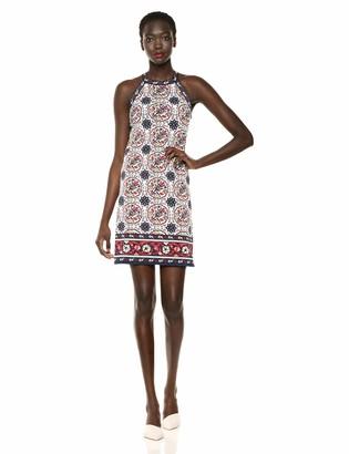 Max Studio Women's Crisscross Printed Matte Jersey Halter Dress