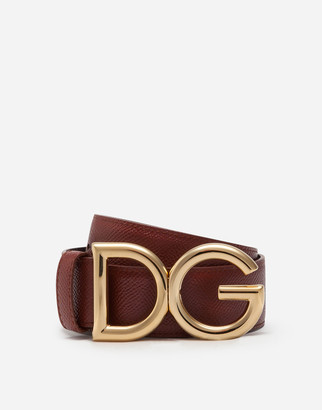 Dolce & Gabbana Reversible Belt In Dauphine Calfskin With Logo