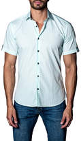 Jared Lang Woven Gingham Short Sleeve Trim Fit Shirt