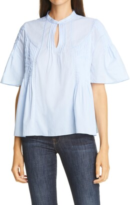 Nordstrom Signature Pintuck Embroidered Blouse