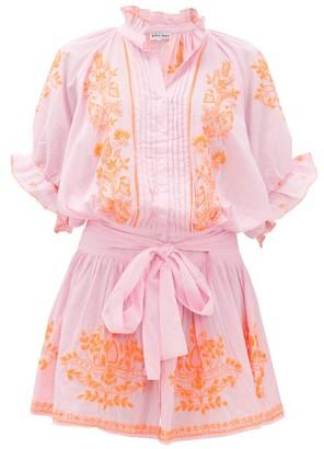 Juliet Dunn Ruffled High-neck Embroidered-cotton Blouson Dress - Pink Print