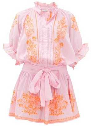 Juliet Dunn Ruffled High-neck Embroidered-cotton Blouson Dress - Womens - Pink Print