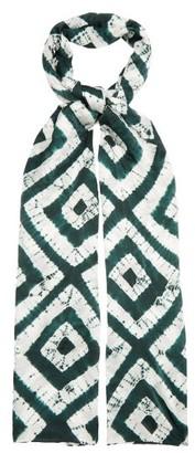 eskandar Expanding Squares Shibori-dyed Silk Scarf - Green