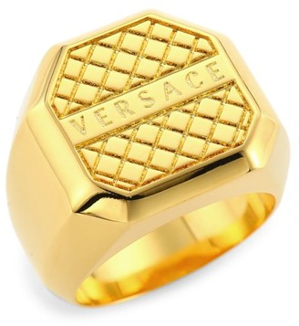 Versace Goldtone Logo Signet Ring