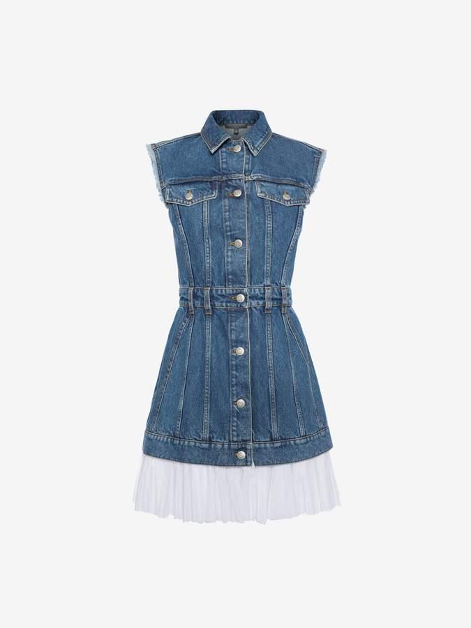Alexander McQueen Sleeveless Mini Denim Dress