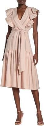 Rebecca Taylor Striped Surplice Ruffled Midi Dress