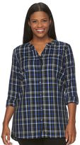 Croft & Barrow Plus Size Print Roll-Tab Shirt