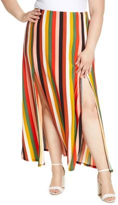 ELOQUII Stripe Side Slit Maxi Skirt