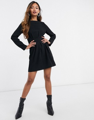ASOS DESIGN nipped in waist long sleeve mini dress in black