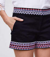 LOFT Border Embroidered Riviera Shorts with 4 Inch Inseam