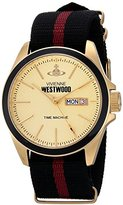 Vivienne Westwood Camden Lock II Men's Quartz Watch with Gold Dial Analogue Display and Multicolour Fabric Strap VV068GDBK