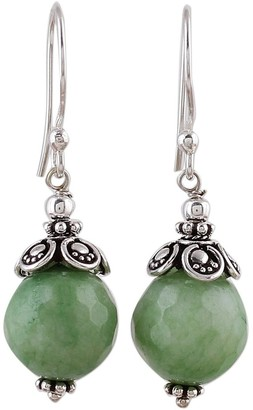 Novica Handmade Aventurine Dangle Earrings, 'Green Delight'
