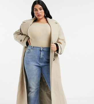 ASOS DESIGN Curve belted luxe maxi coat in camel