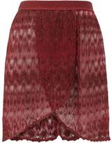 Missoni Mare - Wrap-style Lace-knit Mini Skirt - Womens - Burgundy