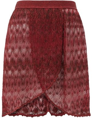 Missoni Mare - Wrap-style Lace-knit Mini Skirt - Burgundy
