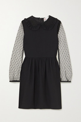 RED Valentino Ruffled Crepe De Chine And Swiss-dot Tulle Mini Dress - Black
