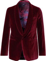 Caruso - Burgundy Butterfly Slim-fit Unstructured Velvet Tuxedo Jacket