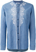 Ermanno Scervino collarless embroidered panel shirt - men - Cotton/Linen/Flax - 52
