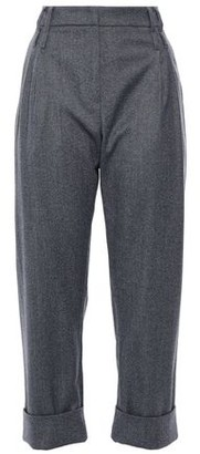 Brunello Cucinelli Cropped Pleated Metallic Wool-blend Straight-leg Pants