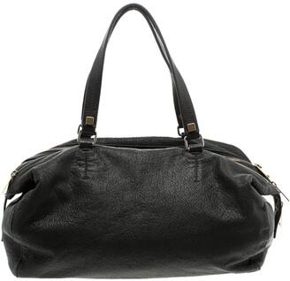 Celine Black Pebbled Leather Triple Zip Satchel