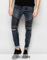 Liquor & Poker Skinny Distressed Biker Jeans in Washed Black