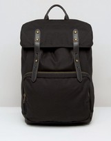 Asos Backpack In Black Canvas With Faux Leather Straps