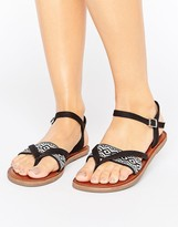 Toms Lexie Black Embroidered Flat Sandals