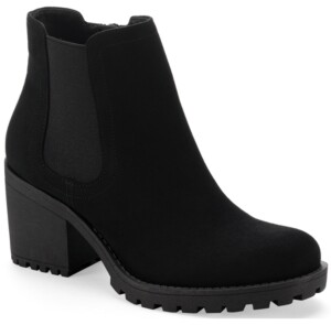 Sun + Stone Morghan Lug Block-Heel Booties, Created for Macy's Women's Shoes