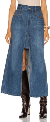 Chloé Slit Maxi Skirt in Denim Blue | FWRD