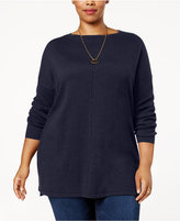 Style&Co. Style & Co Plus Size Seamed Boat-Neck Sweater, Created for Macy's