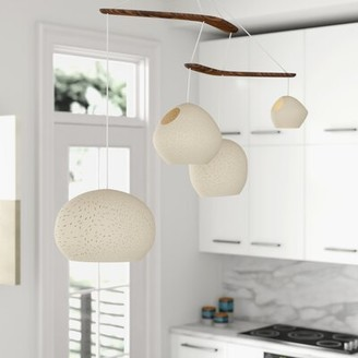 FoundstoneTM Arly 4 - Light Cluster Geometric Pendant with Wood Accents Foundstone