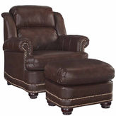 Asstd National Brand Beau Chair Ottoman Faux Leather Roll-Arm Chair