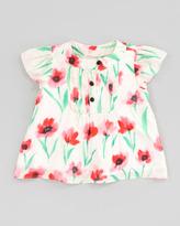 Milly Minis Flutter Pintuck Poppy-Print Blouse, Sizes 2-6